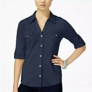 Style & Co S Navy Button Up Shirt 6AI47